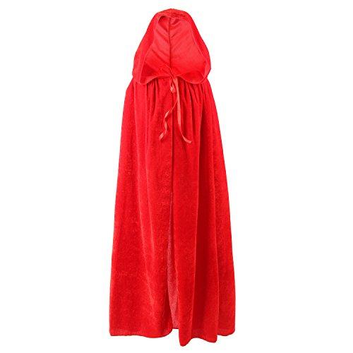 Halloween Umhang Karneval Fasching Kostüm Cape Vampir Cosplay mit Kapuze Einheitsgröße für Kinder von ca. 8-10 Jahre Unisex von Discoball® (Rot) (Karneval Cape)