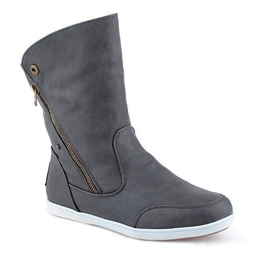 Damen Stiefeletten Schlupf Stiefel Reißverschluss Warm Gefüttert Boots Schuhe Grau