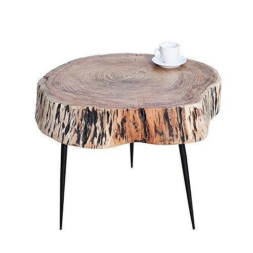 Rustikaler Couchtisch (Rustikaler Couchtisch GOA 60cm Akazie Massivholz Dreibein Beistelltisch Tisch)