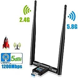 PiAEK Adaptateur USB WiFi, USB 3.0 1200Mbps Clé WiFi Donglesans, Fil Double Bande 5G/2.4G 5dBi WiFi Antennes de réseau pour PC de Bureau, Windows 10/8/7/Vista/XP/ 2000, Mac Os X, Linux (01)
