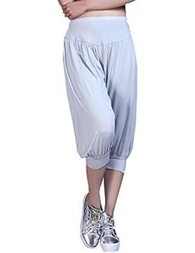 24033ff12df512 Cayuan Donne 3/4 Lunghezza Pantaloni Harem Sciolto Pantaloni a Sbuffo Yoga  Pilates Casuale Pantalone