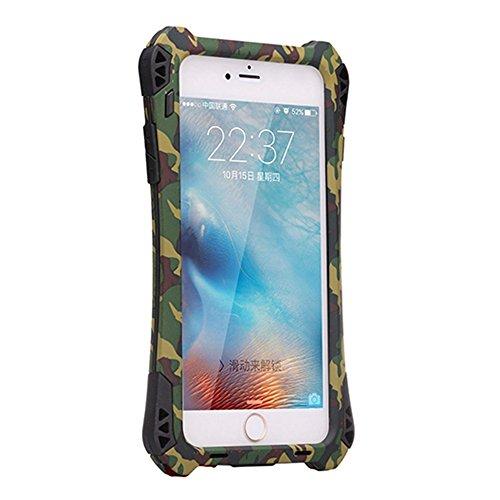 """iPhone 6S Plus Coque ,SHANGRUN Aluminium Metal Frame Bumper + Fibre de Carbone + Caoutchouc Silicone Coque Antichoc Protictive Couvercle housse Etui Protection Case pour iPhone 6 Plus / 6S Plus 5.5"""" O Vert"""