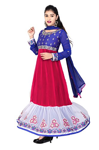 Clickedia Womens Silk & Georgette Anarkali Dress Material (Pinkwhiteblue _Pink _Free Size)