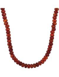 506c8637d78c Damen Halskette aus 925 Sterling Silber vergoldet mit Karneol rot 46 cm  lang Edelsteinkette