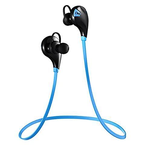 [Oreillette Bluetooth 4.0 & 2-an de Garantie] VicTsing Casque Bluetooth sans fil V4.0 Oreillette Sport avec Microphone, Écouteur d'exercice sans fil Bluetooth Headset pour iPhone 7 7 Plus SE 6, Samsung, Huawei P9 P8, etc - Bleu