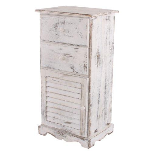 Mendler Kommode Schrank, 81x40x32cm, Shabby-Look, Vintage ~ weiß - Antike Weiße Schränke