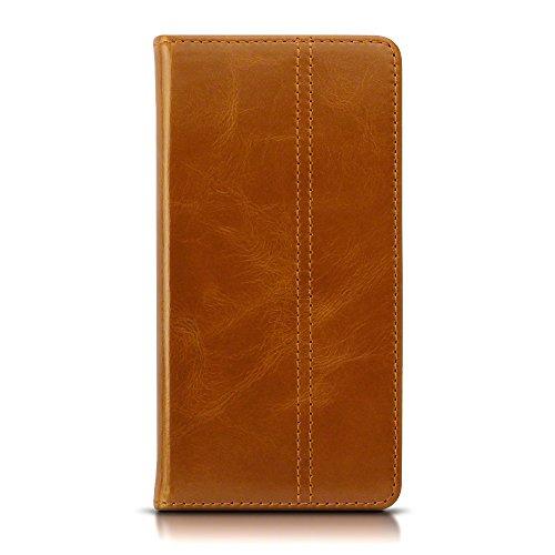 Lumia 650 Case, Terrapin ECHT LEDER Slim Fit Brieftasche im Bookstyle mit Standfunktion Kartenfächer für Microsoft Lumia 650 Hülle - Hellbraun