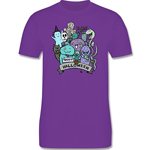 Anlässe Kind - Happy Halloween Monster - 86-94 (2-3 Jahre) - Lila - L190K - Premium Kinder T-Shirt aus Baumwolle für Mädchen und Jungen