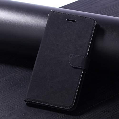 HHF Handy Zubehör Für Huawei Enjoy 7s / Huawei p smart, langlebig qualität Tuch Stoff prozess schützende Karte lagerung flip pu Leder Brieftasche case Abdeckung mit kurzen Sling (Farbe : Schwarz)