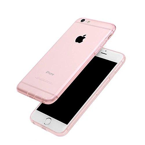 iPhone SE Hülle, iPhone 5S Case, MOMDAD Dünnen TPU Transparent Schutzhülle für iPhone SE 5S 5 Handyhülle Durchsichtig Silikon Weich Cover Abdeckung Telefonkasten mit Staub Stecker Schutz Kratzfeste St Pink Rosa