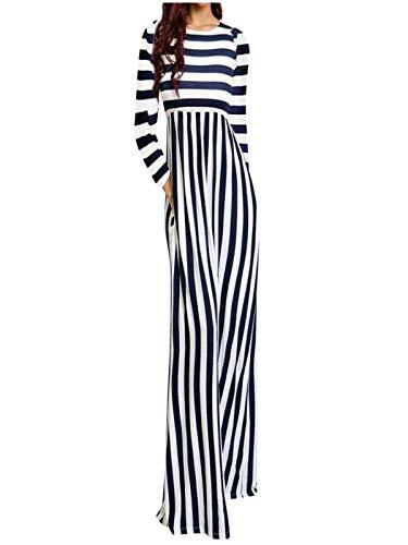 Prezzo basso donne vestito autunno abiti donna eleganti da cerimonia moda donne spiaggia o-collo manica lunga a strisce tasche vestito con sciolto tempo libero style comode gonna
