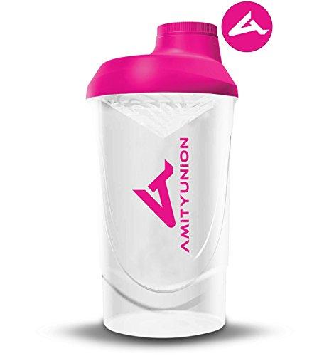 Frauen Protein Shaker 800 ml Pink Weiß Deluxe - ORIGINAL AMITYUNION - Eiweiß Shaker auslaufsicher - BPA frei mit Sieb, Skala für Cremige Whey Shakes, Gym Fitness Becher für Isolate, Sport Getränke -