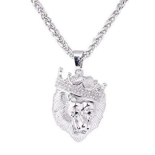 ITVIP Collana Hip Hop da Uomo Intarsio Diamante Corona Imperiale Testa di Leone Placcatura in Oro Ciondolo Collana Cubana Regalo...