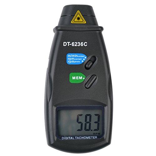 inkint ® 2 in 1 Rotation Tachometer Kontakt / Berührungslose Laser LCD Digitalanzeige Drehzahlmesser / Photo Tach mit Extra-Power Port (Kontakt-tachometer)