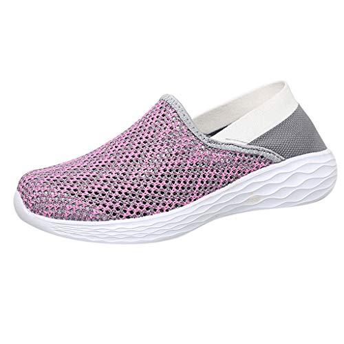 Preisvergleich Produktbild Yvelands Damen Sneaker Turnschuhe Paar Frauen Outdoor Mesh Hohl Sportschuhe Run Atmungsaktive Schuhe(Pink, 38)