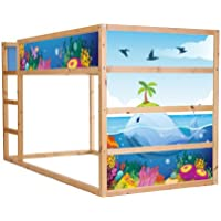 Preisvergleich für Stikkipix Unterwasserwelt Möbelfolie selbstklebend/Aufkleber - IM140 - passend für das Kinderzimmer Hochbett KURA von IKEA - Möbel Nicht Inklusive