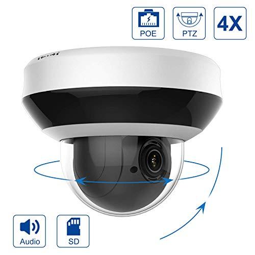 4MP POE IP PTZ Kamera Outdoor 4X optischer Zoom, IP Überwachungskamera IR Nachtsicht wetterfest, mit SD Kartensteckplatz Audio Alarm, Bewegungserkennung, Hikvision kompatibel Onvif