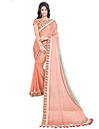 Online Fayda Women's Chiffon Saree With Blouse Piece(OF327_Pink_Free Size)