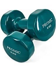 Promic 1Lb a 9,7kg mano levantamiento de pesos deluxe con revestimiento de vinilo juego de mancuernas entrenamiento aeróbico Fitness, juego de 2, Dark Green 8kg, 2 x 8 kg