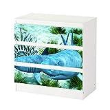 Set Möbelaufkleber für Ikea Kommode MALM 3 Fächer/Schubladen Hai Haie weiß Wasser Koralle Meer Aufkleber Möbelfolie sticker (Ohne Möbel) Folie 25C516, Kommode 3 Fächer:Kommode 3 Fächer