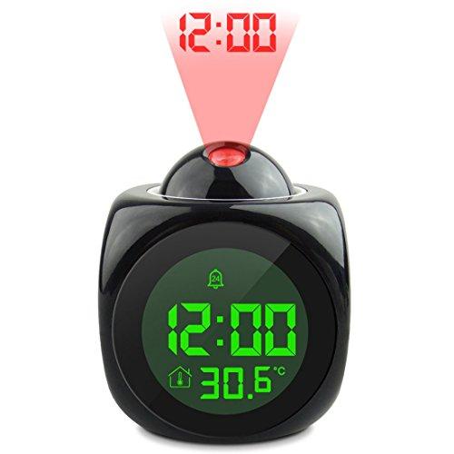 JoyliveCY Reloj de Alarma de proyección, función de Hablar de Voz LCD Digital, proyección de Pared/Techo...