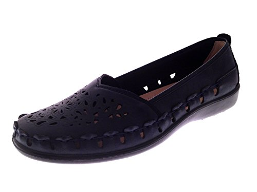 Strong Souls Womens Faux Leather Comfort Loafers Cut Out Shoes Casual Summer Flexi Sole Sandals Flats Navy Size 4