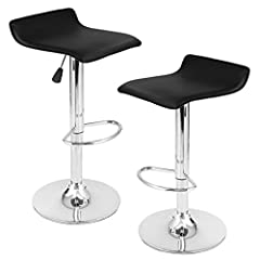 Idea Regalo - LANGRIA Manhattan Bar Sgabelli Set con Esterno in Vetroresina Streamlined, Lift Gas regolabile, Supporto Poggiapiedi in Cristallo e Base per Bar, Contatore o Casa (2 PCS,Nero)