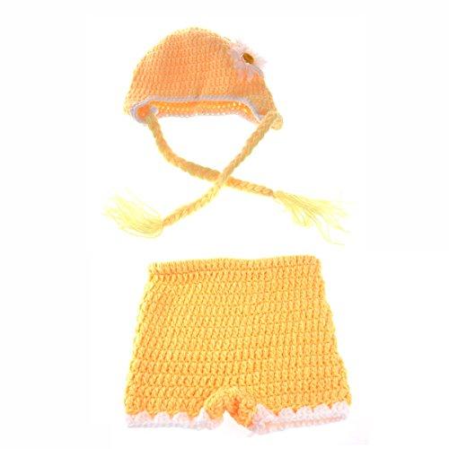 Museya Schönen Sonnenblume Stil Baby Kleinkind Neugeborenes Hand gestrickte häkeln Hut Kostüm Baby Fotografie Requisiten ()