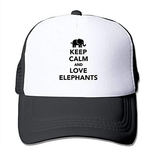 Voxpkrs Mantenga la Calma y Ame a los Elefantes Unisex Gorras de...