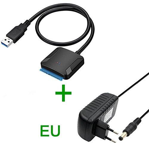 "USB 3.0 auf SATA Adapter UASP USB SATA Konverter USB 3.0 SATA Kabel Festplatten Dockingstation für 2,5\""/3,5\"" SATA I II III Festplatten Laufwerke HDD/SSD mit 12V/2A AC Netzadapter"