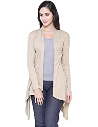COA Womens Organic Cotton Long Island Full Sleeves Designer Shrug for Women with Front Open and Asymmetric Waterfall Hemline (Beige)