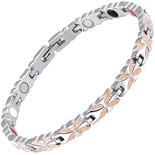 Damen Magnet-Armband groß klein Größe Damen Gesundheits-Armband für Schmerzen Arthritis Armband Infrarot Germanium Negative Ionen-Armband -BFRG, edelstahl, rose gold, 22.5 cm / 8.85 in
