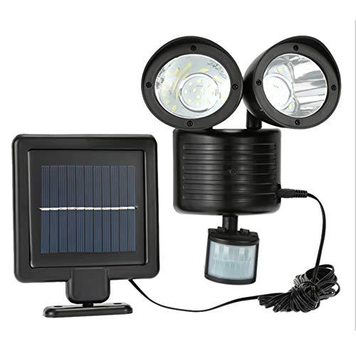 Lanking LED Solarlampe mit Bewegungsmelder, Outdoor Wasserdichter Dual Head Einstellbar Außenstrahler LED-Wand-Fluter für Garten, Garage(Schwarz) Dual-tech-wand
