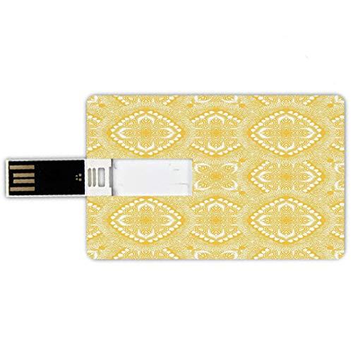 32GB Forma de tarjeta de crédito de unidades flash USB Mandala Amarilla Estilo de tarjeta de banco de Memory Stick Motivos orientales servilleta tapete Curvas de elementos decorativos asiáticos destac