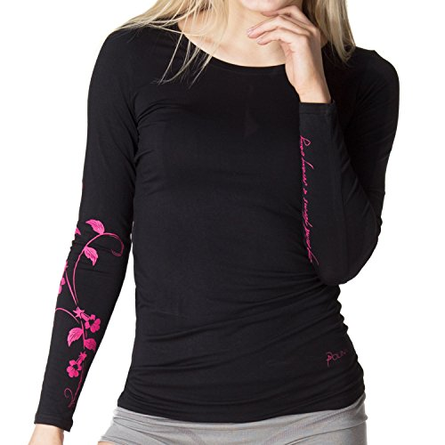 Camiseta negra POLINA manga larga | Colección Lifestyle de la estrella del ballet Polina | Viscosa de bambú de alta calidad | Perfecta para ballet, yoga, pilates y ocio (M, Negro)