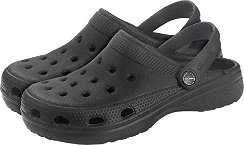REIS Schwarze Herren Clogs Pantoletten - Herrenschuhe Gartenschuhe Strandschuhe Sandale, Größe: 43