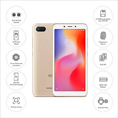 Redmi 6 (Gold, 3GB RAM, 64GB Storage)