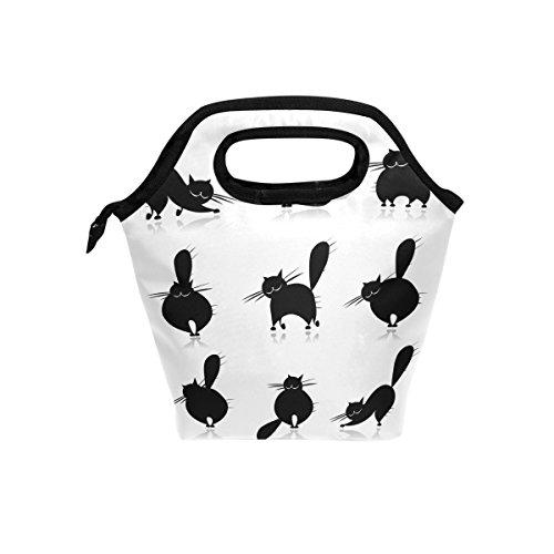 COOSUN Halloween Schwarze Katzen Mittagessen Tote Bag Isolier-Cooler-Mittagessen-Beutel Wasserdichte Neopren-Mittagessen-Handtaschen Tote mit Reißverschluss für Outdoor-Reisen Picknick Groß Multi