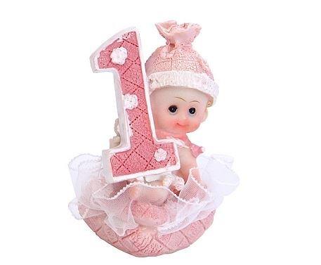 PartyDeco-DF10D-Decorazione-Torta-Primo-Compleanno-Bimba-Rosa