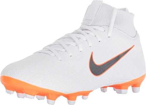 Nike mercurial superfly 6 gs mg junior, scarpe da calcio unisex-bambini, bianco (white/chrome-total o 107), 38.5 eu