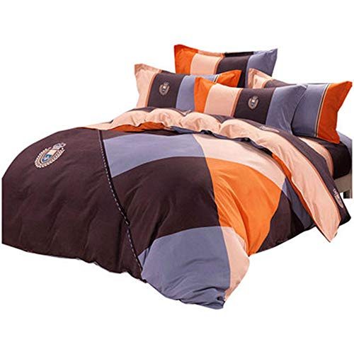 YJJSL Cotton-Bettwäsche-Set, Student Schlafzimmer Stilvolle Einfachheit Duvet Suit, Nordic 3D-Einfarbige geometrische Streifen Naked Sleep Quilt Suit Set - abnehmbare 3/4 Stück -