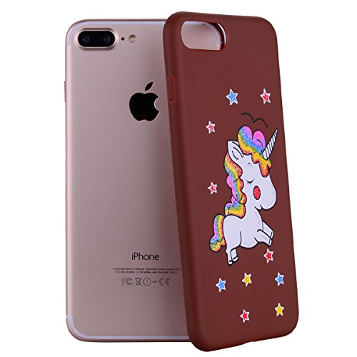 Coque iPhone 7 Plus , iPhone 8 Plus Etui , TPU Slim Souple Étui de Protection Soft Cover Bling Glitter Licorne Motif Design Case Anti Choc Ultra Mince Silicone Couverture Transparente Bumper Gel Anfir Marron