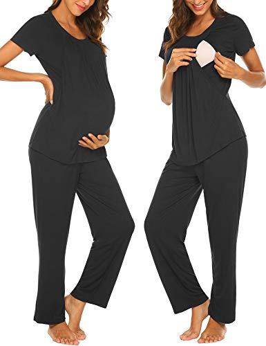 MAXMODA Damen Stillpyjama Umstandspyjama Stillschlafanzug Zweiteilige Nachtwäsche Hausanzug Pyjamas Shirt & Lange Hose mit Stillfunktion Homewear Schwarz S