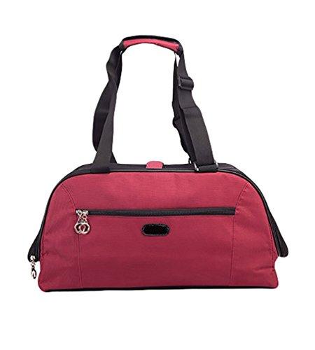 Ducomi® La Totta - Starrer Träger für Hunde, Katzen und Haustiere mit Schultergurt- und Trolley-System - Ideal für Reisen mit dem Zug und Flugzeug (Rot, S) -