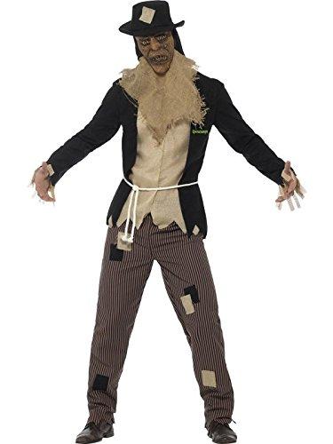 Smiffys Herren Vogelscheuchen Kostüm, Jacke, Shirt, Hose, Gewand, Maske und Hut, Größe: M, (Einfach Scarecrow Kostüm)
