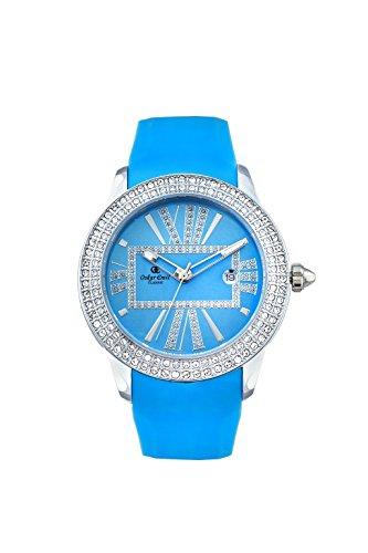 Oskar Emil, klassische Uhren, Uhr Damenuhr Classic Oskar Emil mit Strass blau Iris women'Armbanduhr Analog Silikon blau Blue Iris