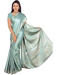 Fertig gewickelter Bollywood Sari Indien Gletschereis Gr. M bis L