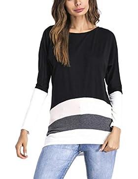 Le Donne Eleganti A Maniche Lunghe Colorblock Mosaico Sopra La Camicetta T - Shirt.
