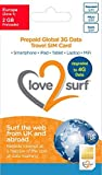 Love2surf Tarjeta Triple SIM Internacional de Datos 3G SIM para Viajes • 114 países - EUROPA - 2GB