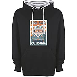 Surfers California Woodstock VW T1 Hippie Fun Art Negro / Gris Qualità Superiore Sudadera con Capucha Unisex Large